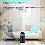 """PARTU HEPA Air Purifier for Home Up to 160ft²- Smoke Air Purifier with 7 Colors Nightlight, Efficient Clear Up Smoke… 11 🍃Efficient Three-Stage Filtration System🍃 PARTU Air Purifier features a three-stage filtration system. This comprises a pre-filter, a HEPA filter and an activated carbon filter, powerful enough to clear up pollen, smoke, odor, pet dander, filters particles as small as 0.3 microns and air pollution of PM 2.5. Anion neutralize pollutants such as dust in the air. 🍃Alternative Iridescent Night Light🍃 The alternative lights are very mood enhancing. It can act as night lights if you have you air purifier on at night. And you can choose and keep one color you like most. If no need the light, just press light button for 3 seconds to turn off. 🍃Ultra-Silent 3 Fan Speeds Setting🍃Partu air purifier with true hepa filter Noise Level-25-48dB, even on the highest setting, the """"noise"""" can be qualified as static background noise, will not distrub you during work, study and sleep. 3 different levels fan speeds can be selected according to the actual air quality and space for energy saving."""