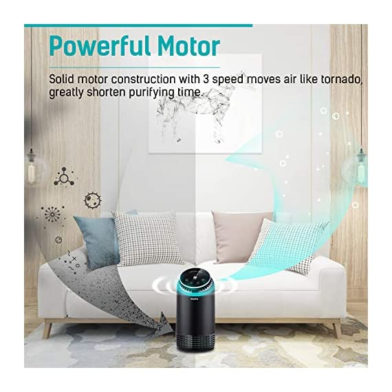 """PARTU HEPA Air Purifier for Home Up to 160ft²- Smoke Air Purifier with 7 Colors Nightlight, Efficient Clear Up Smoke… 4 🍃Efficient Three-Stage Filtration System🍃 PARTU Air Purifier features a three-stage filtration system. This comprises a pre-filter, a HEPA filter and an activated carbon filter, powerful enough to clear up pollen, smoke, odor, pet dander, filters particles as small as 0.3 microns and air pollution of PM 2.5. Anion neutralize pollutants such as dust in the air. 🍃Alternative Iridescent Night Light🍃 The alternative lights are very mood enhancing. It can act as night lights if you have you air purifier on at night. And you can choose and keep one color you like most. If no need the light, just press light button for 3 seconds to turn off. 🍃Ultra-Silent 3 Fan Speeds Setting🍃Partu air purifier with true hepa filter Noise Level-25-48dB, even on the highest setting, the """"noise"""" can be qualified as static background noise, will not distrub you during work, study and sleep. 3 different levels fan speeds can be selected according to the actual air quality and space for energy saving."""