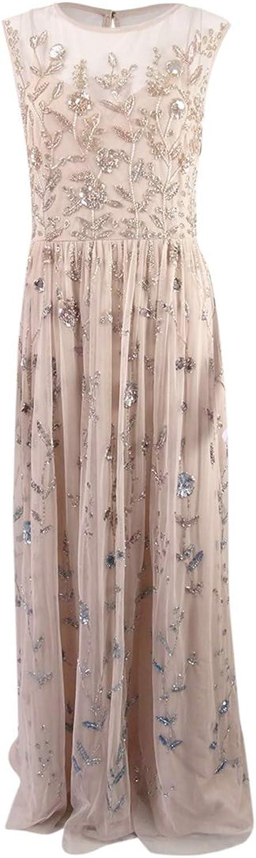 Adrianna Papell Womens Sequined Mesh Evening Dress
