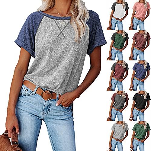 PANBOB Camisa Mujer Básica Empalme De Cuello Redondo Puños Enrollados Escote Cruzado Mujer Tops Generoso Casual Exquisito Único Sencillez Uso Diario Mujer Blusa A-Grey Blue XXL
