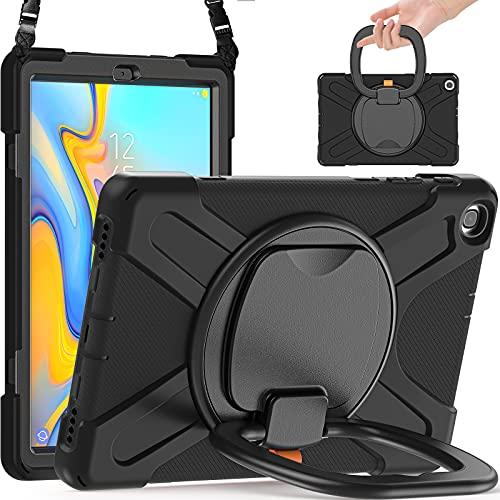 Funda para Samsung Galaxy Tab A 10.1 Pulgadas 2019 (SM-T510/T515/T517),Anticaída Heavy Duty Three Layers Antichoque Carcasa Rugosa con 360 Soporte Rotación Correa de Mano/Hombro,A0-6