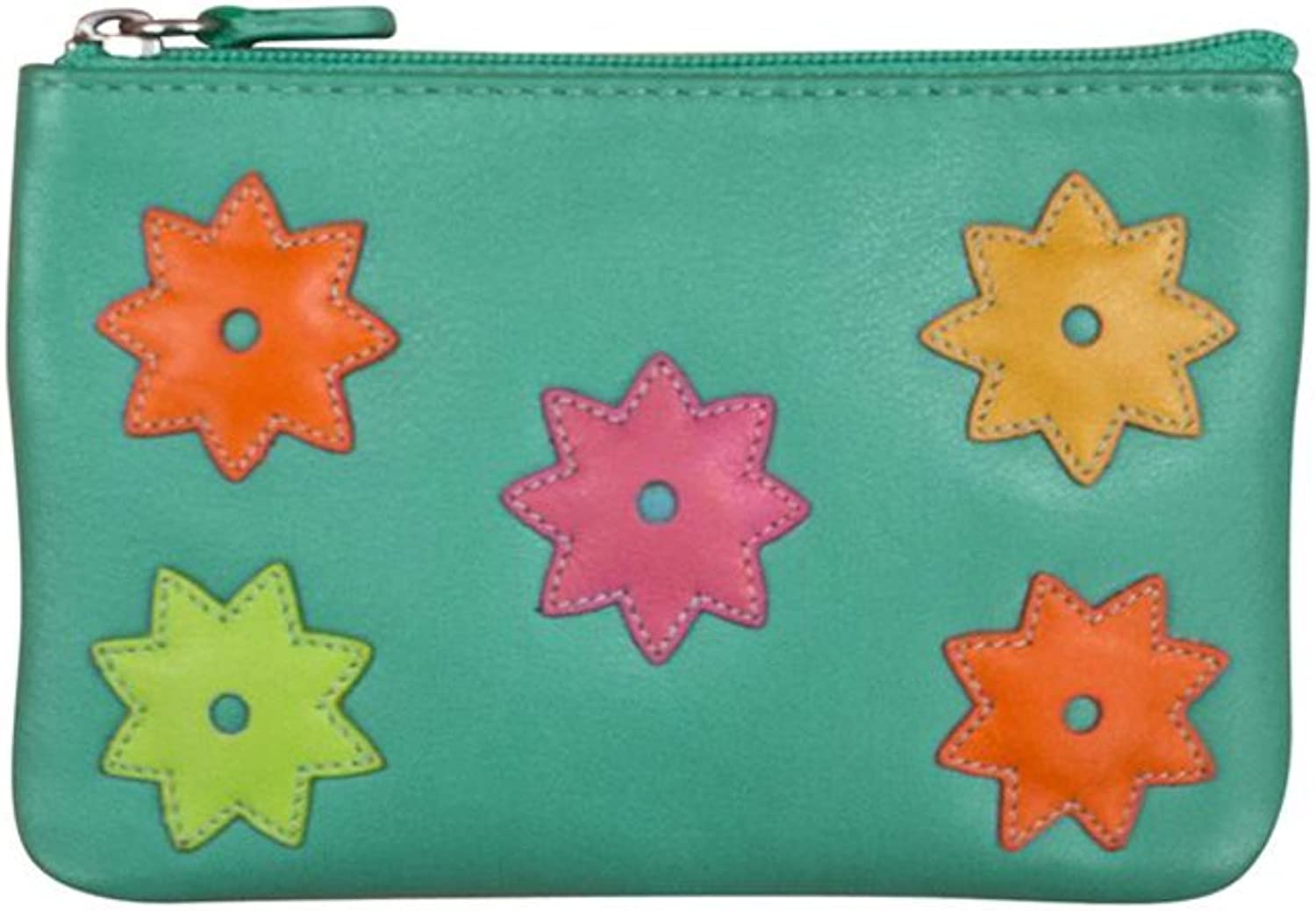 Ili 6442 Leather Coin Holder with Flower Power Detail