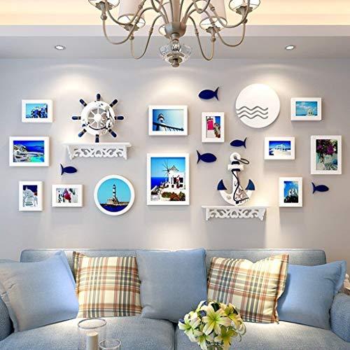 Jjek Photo muur decoratieve muur met inbegrip van 12 st en plank decoratie, bank achtergrond decoratie, dekking gebied 180x75cm simulatie Aquarium decoratieve achtergrond muur B
