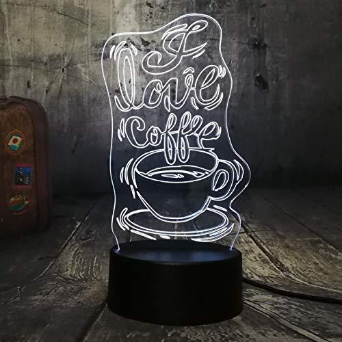 Coffee Time Hermosa Luz De Noche Led 3D Multicolor 7 Colores Bar De Ocio Decoración Para El Hogar Juguete Para Niños Lámpara De Cumpleaños De Navidad 1pc