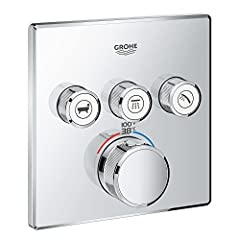 GROHE Turbostat Compact cartridge with wax GROHE Safe Stop safety button at 100°F/38°C Metal wall escutcheon with GROHE Quick Fix (covered escutcheon and shaft sealing, covered fixing), 6° angle adjustable Required rough-in-set sold separately (GROHE...