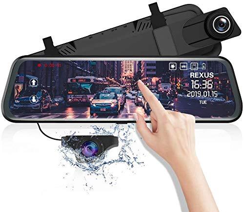 REUXS 10-Zoll-Rückspiegel mit Rückfahrkamera, Einparkhilfe, ADAS, Super-Nachtsicht, Loop-Aufnahme, G-Sensor, Parkmonitor, Autokamera mit Zwei Linsen [1080P, 170 ° vorne; 720P, hinten 150 °]