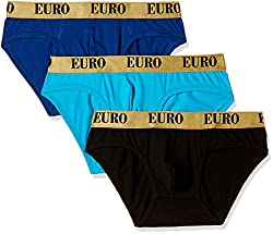Euro Mens Cotton Brief (Pack of 3) (Colors May Vary)