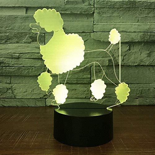 Luce Notturna A Led 3D Luce Illusione 3D Barboncino Per Cani Usb Luce 3D Pulsanti A Tocco A 16 Colori Luce Illusione 3D Con Telecomando