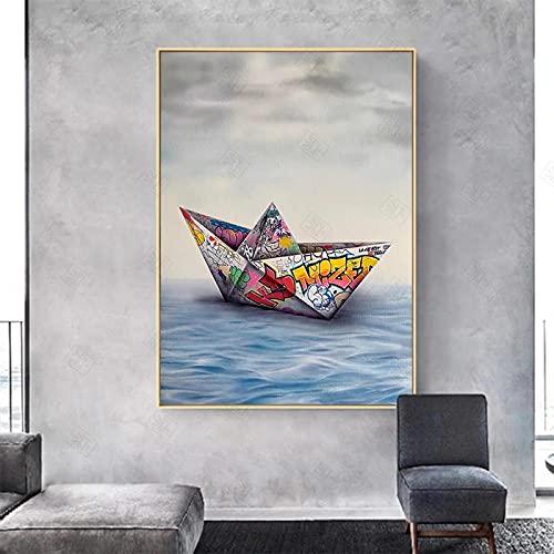 Kuingbhn Arte de la Pared Decoración Póster Fotos Graffiti Papel Origami Barco Lienzo Pintura Imprimir Imágenes Modernas para la Sala de Estar Decoración del hogar-60x90cm Sin Marco