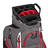 Founders Club Franklin Golf Push Cart Bag -Riding Cart Bag -Full Bag Rain Cover -Secure Push Cart Base -Light Weight -15 Way Full Length Divider-External Putter Tube-Embroidery Panel (Red)