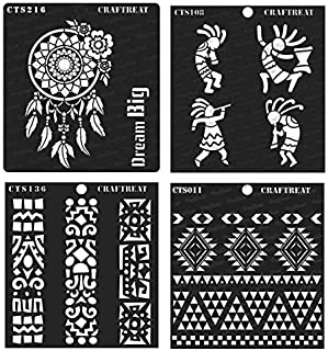 CrafTreat Stencil - Aztec, Kokopelli, Folk Art Borders & Dream Big (4 pcs) | Reusable Painting Template for Home Decor, Crafting, DIY Albums and Printing on Paper, Wall Tile, Fabric, Wood 6