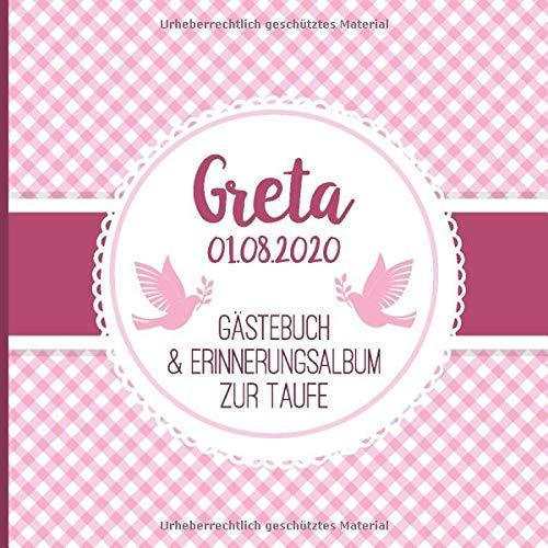 Greta - Gästebuch & Erinnerungsalbum zur Taufe: Personalisiertes Gästebuch mit Fragen, 100 Seiten, rosa pink weiß kariert mit Tauben
