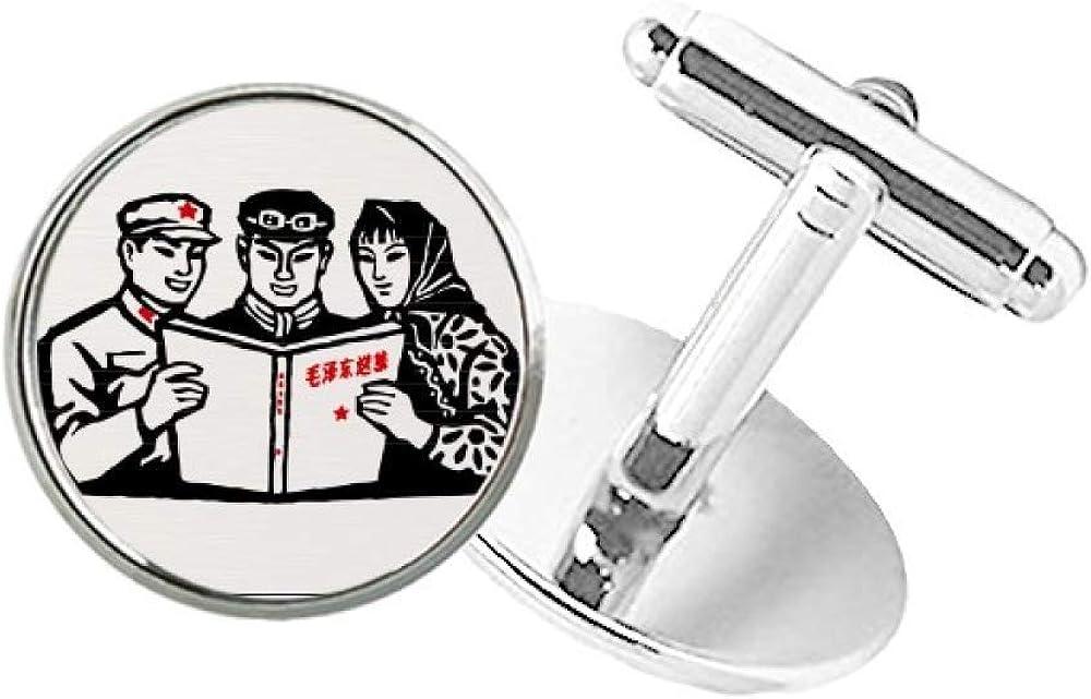 DIYthinker Mao Ze Anthology Chinese Soldier Round Button Cuff Clip Stud Cufflinks