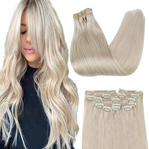 VeSunny Blonde Clip in Hair Extensions Human Hair Full Head 18inch Remy Clip in Hair Extension Double Weft Platinum Blonde Clip on Hair Extensions Human Hair Clip in Extensions 7Pcs 100 Gram