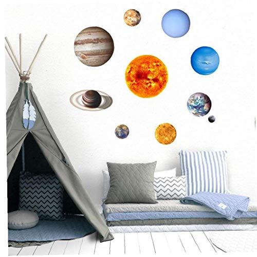 PiniceCore 10 Piezas De Planetas Etiqueta De La Pared De PVC Luminoso Solar Pegatinas De Pared Planeta Brille En Engomada De La Oscuridad De Habitaciones Decoración