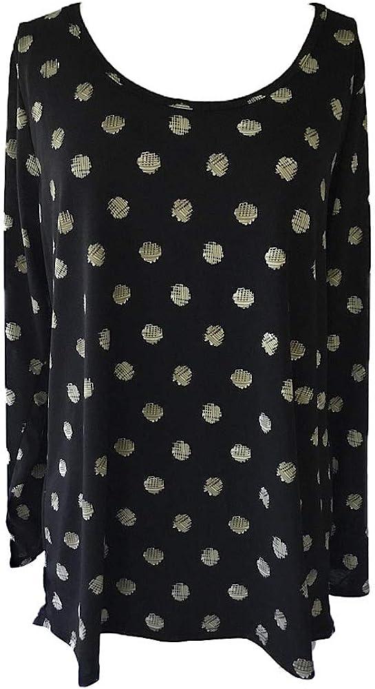 Lularoe Womens Lynnae Longsleeve T-Shirt Dots 2XLarge Black