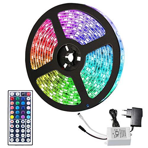 Hengda 2M 60LEDs RGB LED Strip, LED Streifen SMD 5050 Leds mit 44-Tasten Fernbedienung und Netzteil, Led stripe Lichtband LED Leiste LED Band, IP65 Wasserfest, LED Beleuchtung