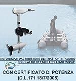 BOUDECH Motore Elettrico Fuoribordo Bianco per Barca Gommone con Elica a Tre Pale e Certificato di Potenza. Disponibili Due potenze 46Lbs/62Lbs (46 Lbs)