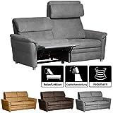 Cavadore 3-Sitzer Sofa Chalsay inkl. verstellbarem Kopfteil und Relaxfunktion / mit Federkern / 3er Kinosessel im modernen Design / Größe: 179 x 94 x 92 cm (BxHxT) / Farbe: Grau (argent)