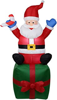lotus.flower Christmas Inflatables Santa Sitting on The Gift with LED Light, Christmas Blow Up Yard Decoration for Yard Indoor/Outdoor Decoration with Ventilator Fan 1.8M (Red)