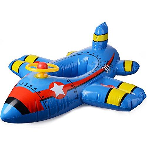 JYCRA Baby Float Seat Boot, aufblasbares Flugzeug Motorboot mit Lenkrad schwimmender Schwimmring für Kinder im Alter von 1–4 Jahren (blau)