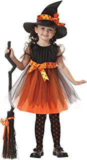 Toddler Girls 3pcs Halloween Costume Performance Kid Witch Dress with Hat