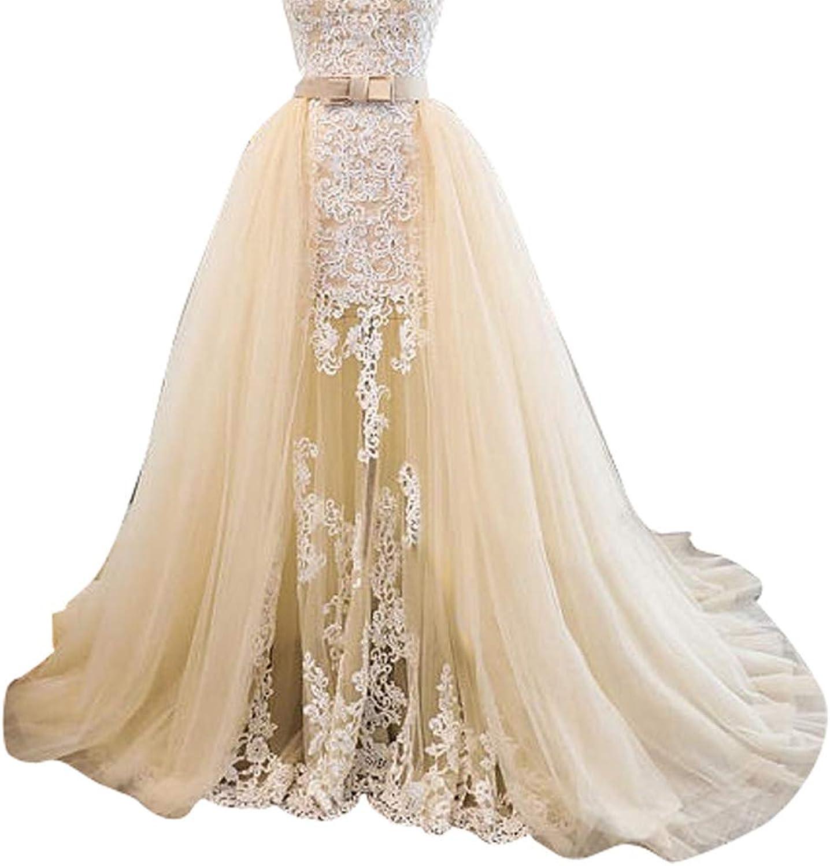 Flowerry Women Champagne Tulle Detahable Wedding Train Skirt Long Tutu Dress Overskirt