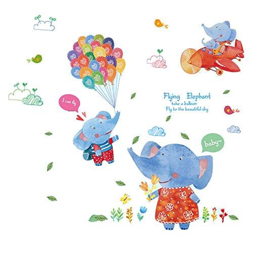 winhappyhome éléphant Ballon Aircraft Art Mural Stickers pour chambre d'enfant Salon Chambre TV Fond Stickers Decor amovible