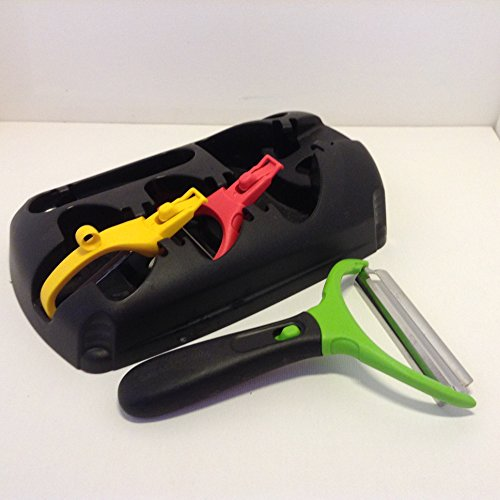 Tupperware Click Series Peeler System - 3 Peelers with Handle and Holder Black