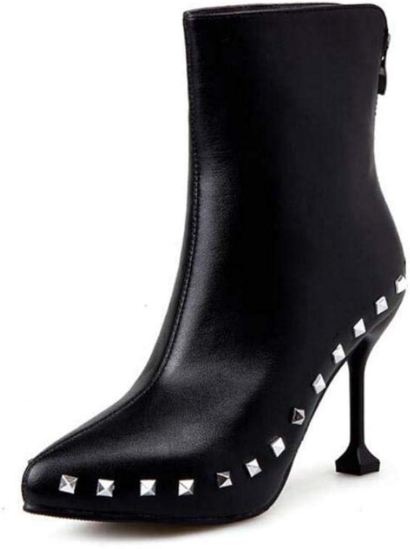9Cm Stiletto Ankle Bootie Rivets Martin Boot Women Pointed Toe Pure color Zipper Dress shoes OL Court shoes EU Size 34-40