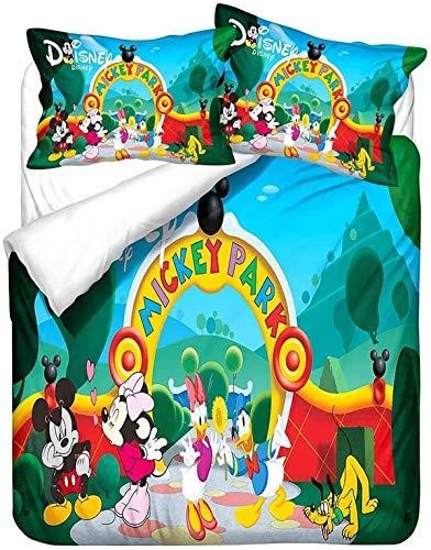 QWAS Mickey Minnie Mickey Mouse - Juego de ropa de cama de Disney con dibujos animados 3D, microfibra suave, 1 funda nórdica y 2 fundas de almohada (L4,135 x 200 cm + 80 x 80 cm x 2)