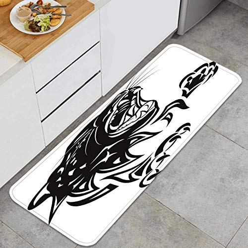 ZHIMI Antidérapant Tapis de Cuisine,Illustration vectorielle de léopard Rage Tatouage Noir,Lavable en Machine Tapis de Bain Paillasson Tapis de Sol Cuisine 45cm x 120cm