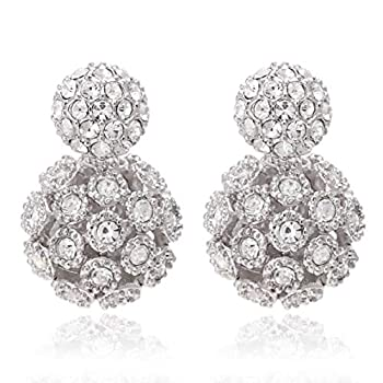Circle Stud Front and Hollow Design Ball Back Double Side Crystal Earrings