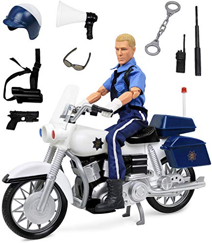 "Click N' Play Police On Motorcycle 12"" Action Figure Play Set with Accessories"