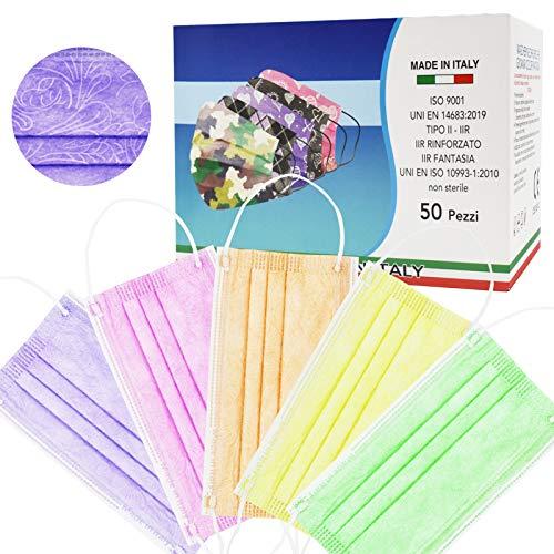 50 Stück Made in Italy farbige Schutzmasken, 3 Schichten, CE-Typ IIR, verstellbar, individuelle Packungen