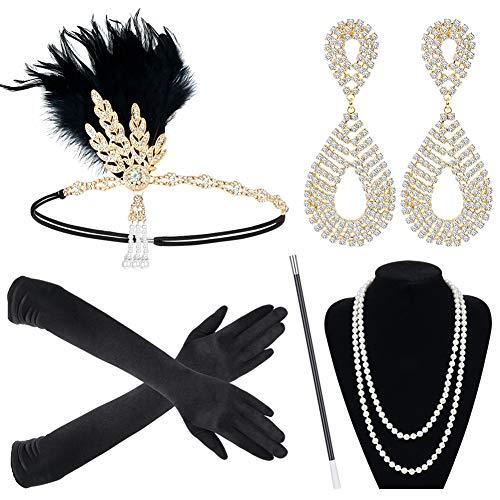 Sinoeem 1920s Kostüm Damen Flapper Accessoires Set 20er Jahre Halloween Kostümzubehör Inklusive Stirnband Halskette Handschuhe Ohrringe Zigarettenhalter Set (Set-1)