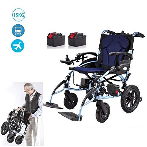 GGD Leichte Elektro-Rollstuhl, Macht Klappstühle für Behinderte mit Joystick, Doppelfunktion Starkstrom Rollstuhl, 15KG,Single Control