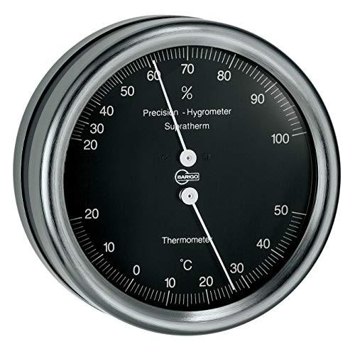 Barigo Orion Thermometer Hygrometer Edelstahl schwarz mit Marine Mounting 102mm