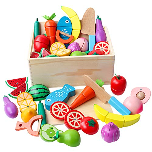 lijun Wooden Classic Game Simulation Kitchen Series Toys Big Box Cutting Fruit Vegetable Set Toys Montessori Early Education Gifts