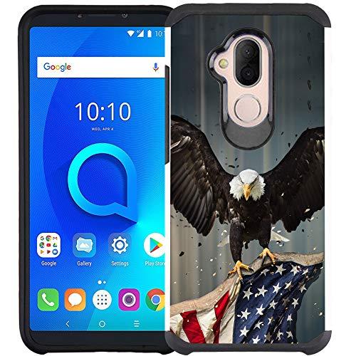 T-Mobile REVVL 2 Plus (2018) Hülle, Alcatel 7 Hülle, doppellagig, stoßfest Bumper Schutzhülle, American Bald Eagle Fliegen mit Fahne