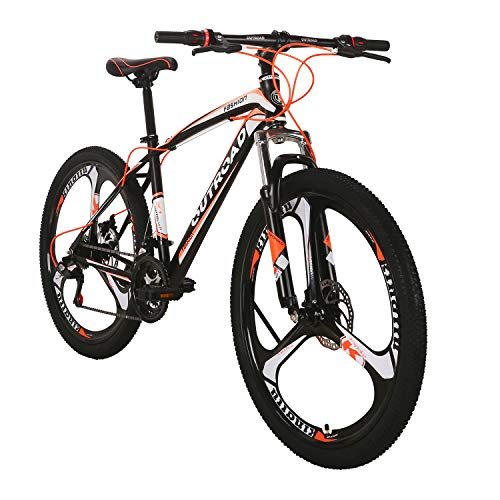 Outroad Mountain Bike 26-inch Wheel 21 Speed 3 Spoke Double Disc Brake Bicycle Suspension Fork Rear Anti-Slip Bike for Adult or Teens (Orange)