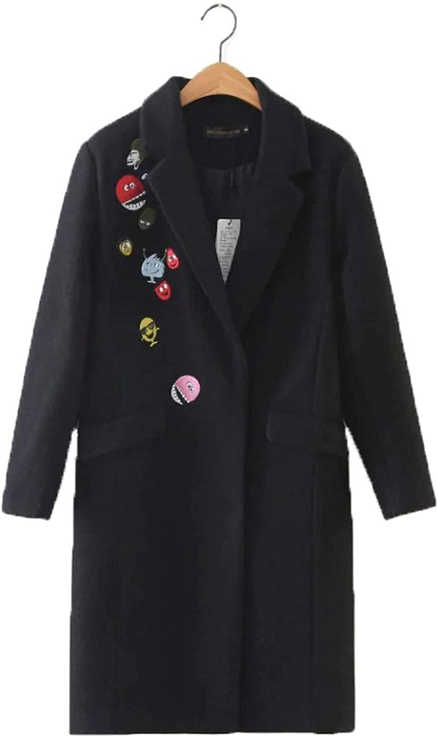 Romantico Autumn and Winter Long Wool Coat Casual Embroidered Coat