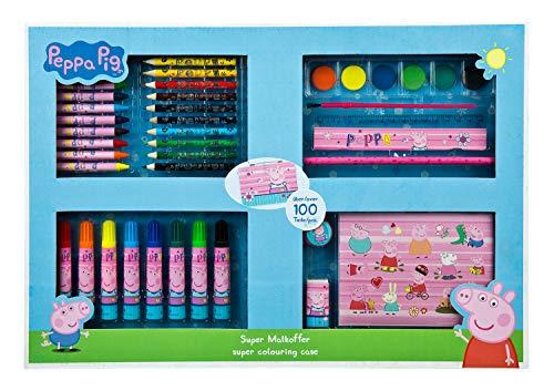 Undercover PIGP4101 Super Malkoffer Peppa Pig, mit Wachsmalkreiden, Fasermalern, Wasserfarben, Buntstiften, Malvorlagen und viel Zubehör, über 100 Teile