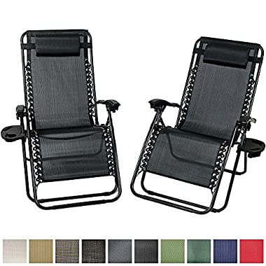 Sunnydaze Charcoal Outdoor Oversized Zero Gravity Lounge Chair with Pillow and Cup Holder, Set of Two