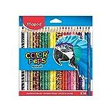 Maped - Crayons de Couleur Color'Peps Animals FSC - Crayon de Coloriage Triangulaire Ergonomique - Crayons Décorés Animaux - Pochette de 24 Crayons en Bois Certifiés FSC