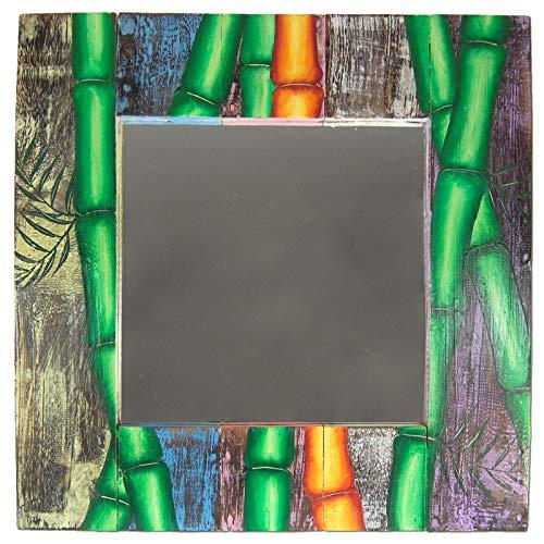 Espejo de pared de 50 x 50 cm, de madera, para baño, perchero con diseño de bambú