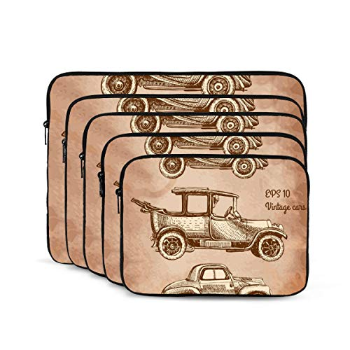 KUUDJIT Set of Vintage Cars 12/13/15/17 Inch Laptop Sleeve Bag for MacBook Air 13 15 MacBook Pro Portable Zipper Laptop Bag Tablet Bag,Diving Fabric,Waterproof