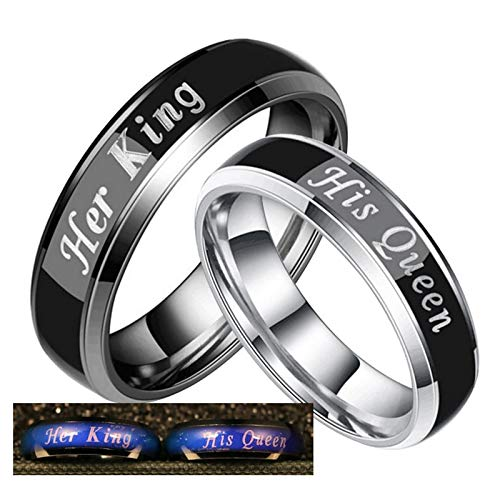 Beydodo Couples Rings 2 Piece Stainless Steel Rings Promise Engraved Her King and His Queen Women Size 10 and Men Size 6