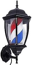 YUUKJ 49 Cm Poste De Barbero Luminoso Y Giratorio Poste De Peluqueria Led Barber Pole Peluquería Salón De La Tienda Muestra De La Lámpara De Pared Retro - Rojo Blanco Azul Rayas,A