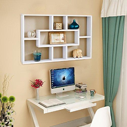 Quieting Wall Mounted Shelf Space Saving Multi-Compartment Display Wall Shelves Display Bookshelf Storage Unit White
